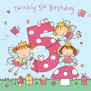 Age 5 Girls Twinkly Birthday Card